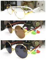 Wholesale Waving Cats - 2017 wood bamboo waving vintage retro sunglasses gold silver metal wooden frame round black brown lens brand designer buffalo horn glasses