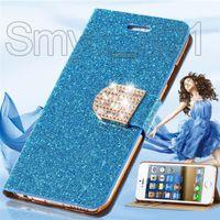 étui iphone croco achat en gros de-Étui de téléphone Diamond PU Housse en cuir Flip Cover titulaire Wallet Fente pour carte bling serpent lézards croco pour iPhone 7 Plus Samsung Galaxy S7, DHL gratuit