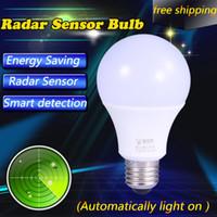 Wholesale Sensor Lighting Bedroom - E27 LED light bulbs Smart Radar Motion Sensor Led Bulb E27 Lamp Led 220V Auto Detaction Home Lighting Cold White
