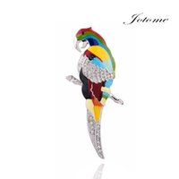 Wholesale Wholesalers For Ladies Garments - 100PCS Lot 2017 Best Selling Products New Design Colorful Parrot Bird Spring Summer Brooch Pin for Lady Women Garment Decoration for sale