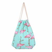 Wholesale Cell Beam - Wholesale- Hot Sale New Arrival Simple Women Flamingos Drawstring Beam Port Cotton canvas Shopping Bag Travel Bag Shoulder Bag