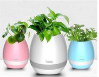 potes de plantas iluminadas venda por atacado-TOKQI bluetooth Inteligente Música Vasos de Flores Inteligente Planta Real Toque Jogar flowerpot colorido Luz longo timecNight luz