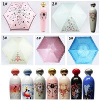 Wholesale Folding Parasol - 10pcs Perfume Bottle Shaped Folding Umbrella Mini Portable Sunshade Anti-UV Rain Parasol Princess Anti UV Sun Rain Umbrella G094