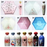 Wholesale Wholesale Uv Umbrella - 10pcs Perfume Bottle Shaped Folding Umbrella Mini Portable Sunshade Anti-UV Rain Parasol Princess Anti UV Sun Rain Umbrella G094