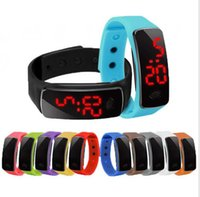 split screen display - 1000pcs Sports rectangle led Digital Display touch screen watches Rubber belt silicone bracelets Wrist watches led touch wristwatch