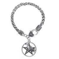 Wholesale Charm Bracelets For Women Religious - Halloween Odins Raven Triple Pendant For Men and Women Wiccan Pentacle Pentagram Jewelry link Bracelet