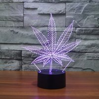 Wholesale Best Nightlight - Free Shipping New 3D LED Table Lamps Leaf Night Lamp LED NightLight Acrylic Colorful Gradient Atmosphere Lamp Best Gifts promotion