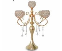 ingrosso decorazioni candelabri-20pcs candelabri romantici placcato oro cristallo portacandele 5 testa metallo nozze candelabro centrotavola decorazione h / 65 cm