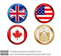 50PCS Touch ID Home Button Sticker Protector para iPhone 7 6s Plus iPad Keypad EUA Canadá Flag Cell Phone Keycap Suporte Fingerprint Desbloquear