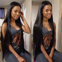 perucas cheias do laço 26 polegadas venda por atacado-Peruca de cabelo humano cambojano para as mulheres negras reta dianteira do laço perucas peruca cheia do laço 8-32 polegadas FDSHINE