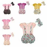 Wholesale Wholesale Kids Puff Sleeve Shirt - Baby Floral Suits Kid Lace Clothing Girls Flower Printed Clothing Sets Bowknot Headband Puff Sleeve Shirt Strap Shorts Children Outfits H732