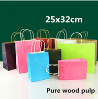 Wholesale Wholesale Clothes Stand - 25x32cm 10pcs Colorful Kraft Paper Standing Rope Handle Packaging bags  Multicolor Thicken Clothing Gift Wedding Shopping Kraft Pouches