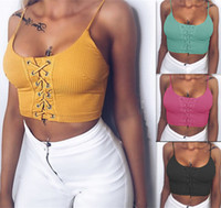 Wholesale Lace Up Vest Top - Women Fashion Lace up Cami Sleeveless Tops Bustier Bra Vest Tight Crop Top Bralette Sleeveless Blouse Tank Shirt