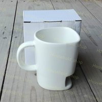Wholesale Cookie Holder Mug - 2017 New Ceramic Biscuit Cups Coffee Cookies Milk Dessert Cup Tea Cups Bottom Storage Mugs for Cookie Biscuits Pockets Holder Kids Cups