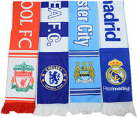 Wholesale Scarf Two Sides - Real madrid Chelsea Sport Soccer Scarf 17*150cm milan Football Juvt Scarves Different Designs on Two Sides Football Fans Scarf Souvenirs
