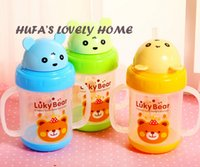 Wholesale Kawaii Water Bottle - Wholesale- kawaii cup korean cuteplastic water bottle 280ml children cup with BPA FREE rope portable with lid travel sports hiking riding