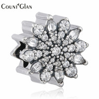 Wholesale Christmas Beads European Bracelet - 100% 925 Sterling Silver Cubic Zirconia Pave Ice Crystal Christmas Charm Beads Fits European Bracelets Diy Bead 2016 Winter New