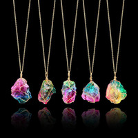 Wholesale rainbow druzy - Dye Rainbow Natural Stone Druzy Necklace Wire Wrapped Irregular Fluorite Crystal Pendant Necklaces For Women Gold Plated Jewelry