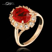 Wholesale Fashion Oval Stone Ring - Classic Red Oval Rhinestone Engagement Rings 18K Rose Gold Plated Crystal Fashion Jewelry For Engagement Wedding Women Wholesale DFR190