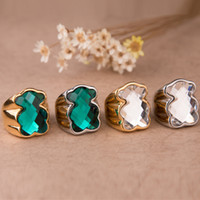 Wholesale Spanish Rings - Package mail promotion selling Spanish bear colored glass ring ring jewelry