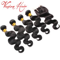Wholesale 22 Real Human Hair Extensions - Wholesale Factory Body Wave Hair Bundles With 4''*4'' Lace Closure Real Human Hair Extensions 4 Bundles Lot Wet And Wavy Brazilian Hair