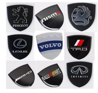 Wholesale Volvo Stickers - 10pcs 35x34mm Aluminum alloy Sticker Car Motorcycle Label Emblem Badge car styling for Volvo Peugeot TRD AMG Lexus Nismo Infiniti Auxhall