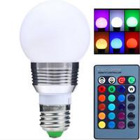 led-birne fern-dimmer großhandel-AC85V-265V E27 E14 Dimmer LED RGB Birne Kerzenlampe 5W 7W LED RGB Punktlicht Magie Feiertagsbeleuchtung + IR Fernbedienung 16 Farben