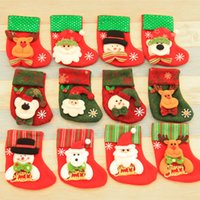 Wholesale Wholesale Kids Christmas Socks - 14*10Cm Christmas Ornaments Sequins Embellished Non Woven Fabrics Christmas Socks Party Gifts For Kids Candy Bag Christmas Stockings
