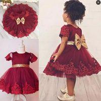 Wholesale Dresse Children - Knee Length First Communion Dress Dark Red Short Sleeves Lace Appliques Sequined Bow Sash Flower Girls Dress Children toddler pageant dresse