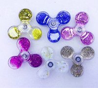 Wholesale Vision Science - 2017 Newest HandSpinner Glitter Quicksand Liquid Plastic PC Bearing Fidget Spinner Fingertip vision Gyro Cyclone Decompression Anxiety Toys