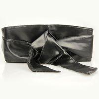 Wholesale Obi Belt Gold - Wholesale- Women PU Leather Soft Self Tie Bowknot Band Wrap Around Sash Obi Belt Waistband