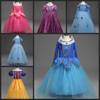 Wholesale Sleeveless Baby Ball Gown - New baby girls snow white Beauty Princess Dress Aurora Princess Dress Children boutiques Dresses Christmas Dress kids prom tutu skirts