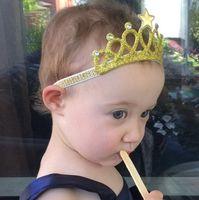 Wholesale Sparkle Elastic Headband - Baby Headbands Gold Silver Crown Sparkle Bands Girls Kids Elastic Star Hairbands Princess Tiara Headband Accessories Photo Props KHA161