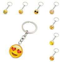 Wholesale European Key Ring Chain - Emoji keychains smile face time gemstone key chain metal glass pendant European fashion jewelry pendant key rings cute funny keychains