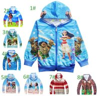 Wholesale Boys Hooded Denim Jacket - Boys girl Moana Hoodies Sweatshirts children cartoon princess Long sleeve zipper Hoodie jacket kids coat cosplay clothing