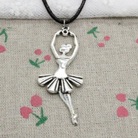 Wholesale Wholesale Ballet Necklaces - New Fashion Antique Silver Charms ballet dancer ballerina 61*24mm Pendant Blacker Leather Cord Hand Made DIY Fashion Necklace Jewlery