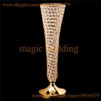 jarrones de oro trompeta al por mayor-Real Crystal Beaded Metel Trumpet Flower Stands Floreros de oro y plata para bodas Centro de mesa Decortion