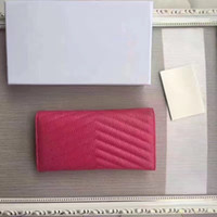 Wholesale Very Pink - very hot selling excellent quality genuine leather luxury brand wallet for women with box drop shipping