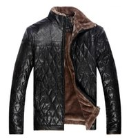 Wholesale Male Leather Wool Clothing - Fall-Men's Clothing Winter Casual Leather Jackets And Coats For Man Solid Color Suit Collar Faux Leather Jacket Male PU & Fur Coat