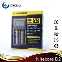 Wholesale Digital E Cigarette - Authentic Nitecore d2 charger Intelligent 18650 battery charger digital e cigarette chargers for battery vapor cigarette battery chargers