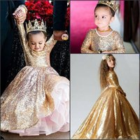 lange kleider für kleinkinder großhandel-Wunderschöne funkelnde Pailletten Mädchen Festzug Kleider 2018 Langarm Prinzessin Gulitz Festzug Party Wear Custom Made Kids Party Wear