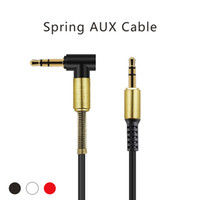 Wholesale Wholesale For Ipods - 3.5mm Aux Cable 90 Degree Right Car Audio Cable Male to Male Jack Cord with Steel Spring Relief For iPods iPhones Home Car Stereos