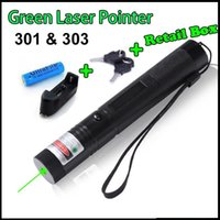 Wholesale Powerful Laser Burns Matches - Free shipping 532nm Powerful 301 303 Green Red Laser Pointers Pen Laser Light Focus 18650 Battery Retail Box Burning Match Teaching