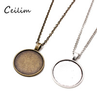 Wholesale bezel tray for pendants resale online - Bronze cm cm Link Chain Necklace Alloy Base Tray Bezel Blank Pendant Necklaces For Handmade mm Cabochons Jewelry