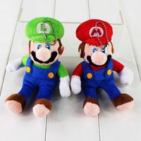 Wholesale Mario Plush For Free - 15cm Super Mario Mario Luigi Keychain Pendants Plush Soft Stuffed Doll Toy for kids gift free shipping