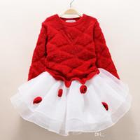 girls dress оптовых-мода новый осень зима девушка платье теплое платье детские детская одежда