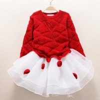 Wholesale Babies Dresses Red - fashion new autumn winter girl dress warm dress baby kids clothing