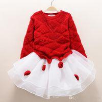 bebek kız yeni elbiseler toptan satış-Moda yeni sonbahar kış kız elbise sıcak elbise bebek çocuk giyim