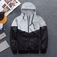 Wholesale Trench Coat Zipper Men - 2017 New Autumn spring 3M Hiphop Jacket Reflective Jacket Thick black Windbreaker Men women Trench Coat jacket