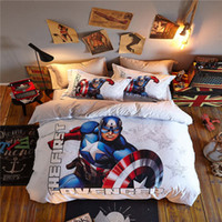 Wholesale Blue Coverlet Queen - Captain America The First Avenger 3D Printed Bedding Set Bedspread Coverlets Duvet Cover Single Twin Full Queen Size Cotton Blue